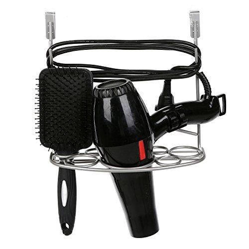 hot sale 2017 MyGift Over-the-Door Cabinet Hair Dryer Holder, 7 Slot Bathroom Accessories Rack, Silver