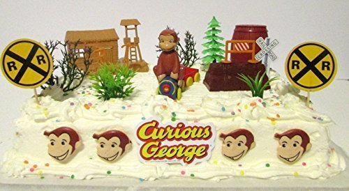 Curious George 16 Piece Birthday Cake Topper Set Featuring George the Monkey on a Train Traveling Through a Western Ghost Town