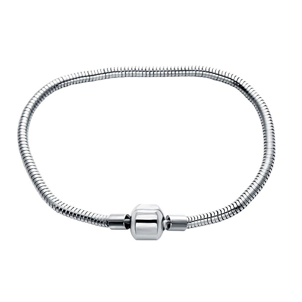 SENFAI Silver Color Bracelet for Woman Charm Diy Stainless Steel Bead Fits Bracelets & Bangles 3mm Snake Bracelet