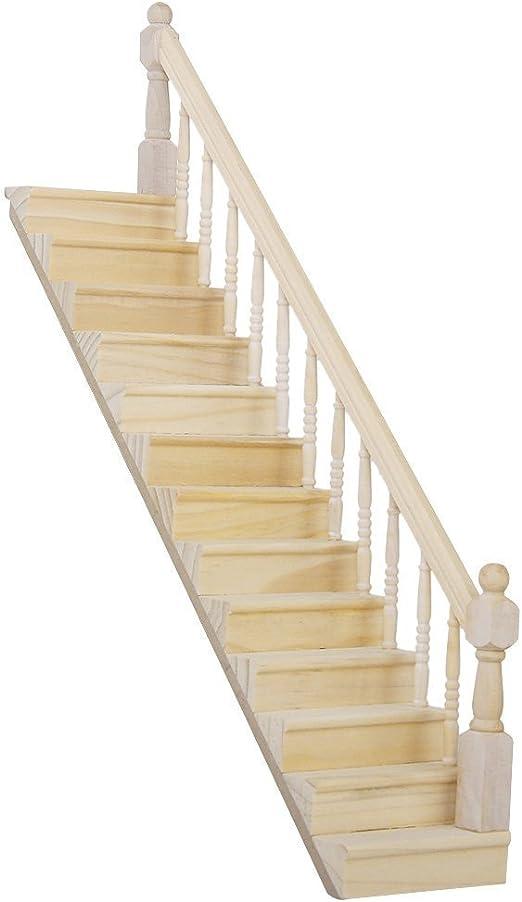 Zeagro Escalera de Escalera de Madera pre-ensamblada en Miniatura de la casa de muñecas 1:12 con barandilla Derecha: Amazon.es: Hogar