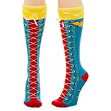 DC Comics Wonder Woman Faux Lace Up Knee High Boot Socks with Cuff