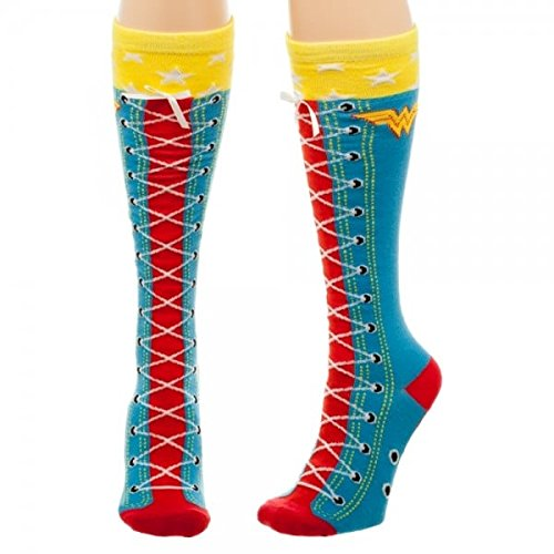 DC Comics Wonder Woman Faux Lace Up Knee High Boot Socks with Cuff ()