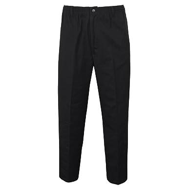 278fe4cb6f5 MENS ELASTICATED WAIST SMART CASUAL RUGBY TROUSERS PANTS W32-W48 LEG  27-29-31  Black