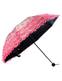 kilofly Ladies Floral Lace Trimming Parasol Folding Umbrella, Anti-UV [UPF 40+]