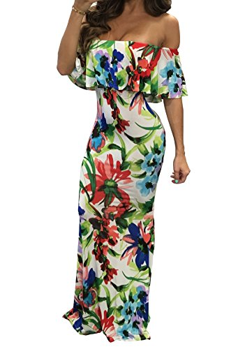 Plain 3 Dress Bodycon Off Women Flowers Long Maxi Blansdi Cocktail Color Shoulder Elegant Ruffle Party Fpw07Y