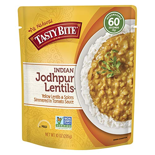 Tasty Bite Indian Entree Jodhpur Lentils 10 Ounce (Pack of 6), Fully Cooked Indian Entrée with Yellow Lentils and Spices in a Tomato Sauce, Vegan, Gluten Free, Microwaveable, Ready to Eat