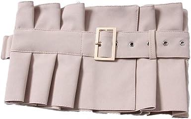 Vestido con la moda plisado con volantes cola larga cintura femenina negro ancho camisa falda cintura cinturón: Amazon.es: Ropa y accesorios