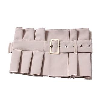 Cinturón de cintura larga con volantes plisado con volantes, falda ...