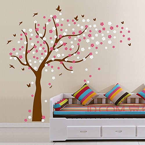 - Family Tree Wall Decals Colorful Cherry Blossom Tree with Butterflies and Birds Wall Decals,Wall Stickers for Nursery Baby Living Room Home Decor