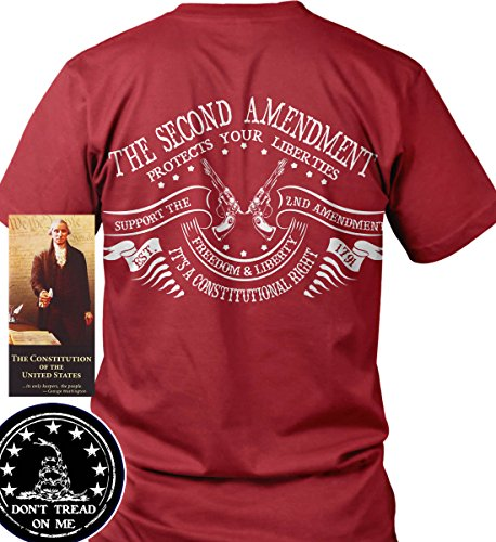 Sons of Libery The Second Amendment Protects Your Liberties. Red/2XL T-Shirt. by Sons Of Liberty