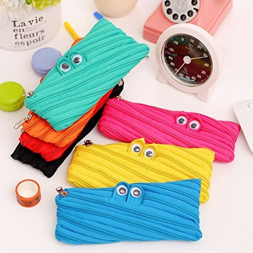 TECH-P Creative Life 8 Inch Monster Pen Pencil Case Stationery Pouch Bag Case Cosmetic Bags wallet, Set of 7
