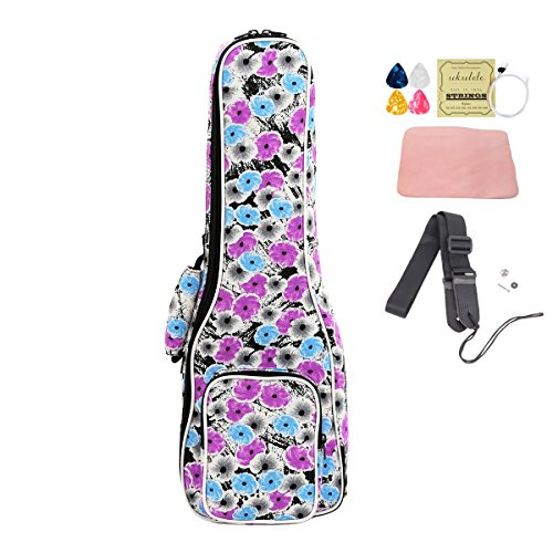 (HOT SEAL Cute Printing 10MM Thick Durable Ukulele Case Bag Cover with Large Storage Uke Backpack Free Straps (21 in, Ink petals))