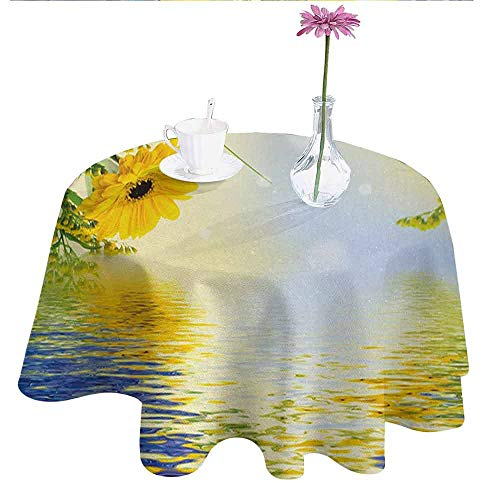 Douglas Hill Yellow and Blue Printed Tablecloth Romantic Bouquet of Hydrangeas and Asters on Water Background Desktop Protection pad D35 Inch Violet Blue Earth Yellow