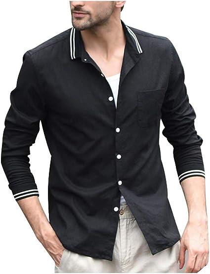 ZODOF camisa hombre camisas sport Casual Comodo Moda Retro Botón Suelto Manga larga Camisa Tops Blusa Moda para hombre camisa lino hombre(S,Negro): Amazon.es: Instrumentos musicales