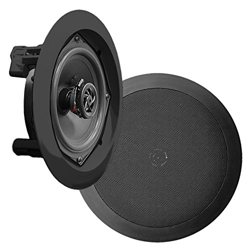 Small Flat Panel Ceiling Mount - 8'' Ceiling Wall Mount Speakers - Pair of 2-Way Midbass Woofer Speaker 1/2'' Polymer Dome Tweeter Flush Design w/50Hz - 20kHz Frequency Response & 250 Watts Peak Easy Installation - Pyle PDIC81RDBK
