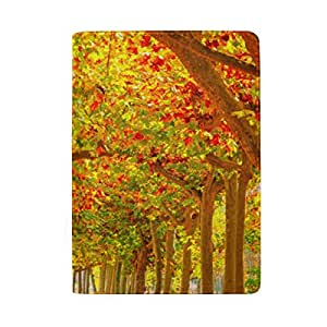 Pathway Through The Autumn Forest Blocking Print Passport Holder Cover Case Travel Luggage Passport Wallet Card Holder Made with Leather for Men Women Kids Family