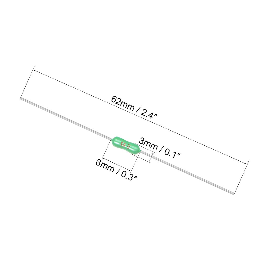 uxcell Pico Fuse 250V 1A Fast Blow Axial Leaded 3mm x 62mm for Telecom Communication 5pcs