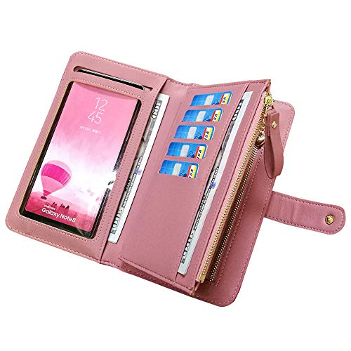 42edc5a2cf314 Leather Wallets for Women Aeeque Women s Wallet Purse Touch Screen Phone  Bag Large Capacity Zipper Wallet