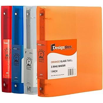 JAM Paper Assorted 1 Inch Width Plastic 3 Ring Binders - Red, Green, Blue & Orange - 4/Pack