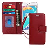 FYY Case for iPhone 7 Plus/iPhone 8 Plus, [Kickstand Feature] Flip Folio Genuine Leather Wallet Case with ID and Credit Card Pockets for Apple iPhone 8/7 Plus (5.5'') Wine Red