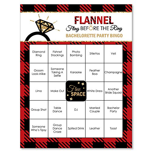 Flannel Fling Before The Ring - Buffalo Plaid Bachelorette Party Bingo Game & Bar Bingo Game Cards - 16 Count