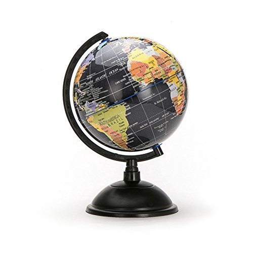 HaloVa World Globe, Desktop 8 inch Spinning Globe with Stand for Kids Students Teachers Geographic Scout Bedroom Decor Educational Gift, Black by HaloVa