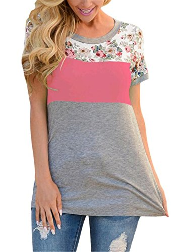 u-wardrobe-casual-floral-print-blouse-tops-short-sleeve-colorblock-t-shirt-for-women-pink-xl