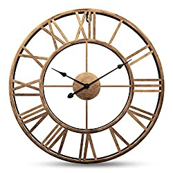 Yesee Large Wall Clock Non Ticking 24 inch Iron Metal Wall Clock Battery Operated with Roman Numerals Wall Decor (Iron Metal, 24 inch)