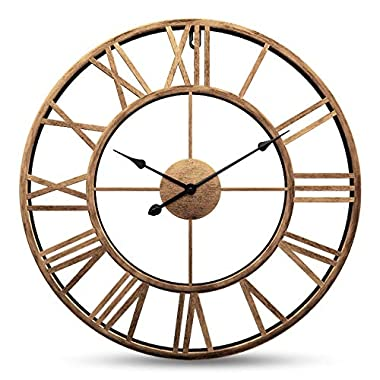 Yesee Silent Large Wall Clock Non Ticking Vintage Retro16-inch (40cm) Large Metal Indoor Wall Clock Battery Operated with Roman Numerals Wall Decor (16 inch,Metal)