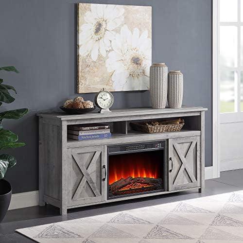 BELLEZE 58″ Corin Barn Door Wood Fireplace Stand