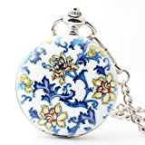 Zxcvlina Classic Smooth Creative Blue and White Porcelain Retro Pocket Watch Boutique Unisex Roman Numberals Mechanical Pocket Watch with Chain Suitable for Gift Giving