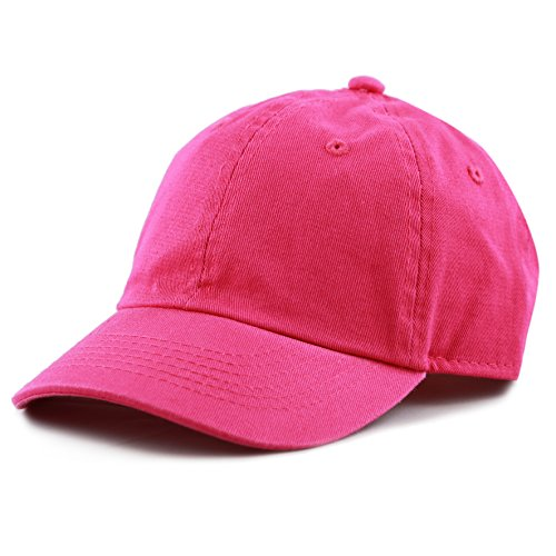 The Hat Depot Kids Washed Low Profile Cotton and Denim Baseball Cap (Hot Pink), One Size Fits Most