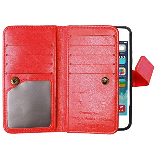 For Apple iphone 5 5s Coque Etui, Ougger Unique 9 [Slot pour Carte] & [Cadre Photo] Cuir Pochette Shell Housse Card Stand Flip Magn¨¦tique Sangle Bumper Protection Pur Couleur Red