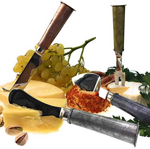 Galrose - CHEESE KNIFE SET Galvanized Iron Handles with Stainless-Steel Blades Quality Stunning Elegant 4Piece Knives Set for the Home Entertainer/Cheese Lover - 6th Wedding Anniversary Gift Idea ()
