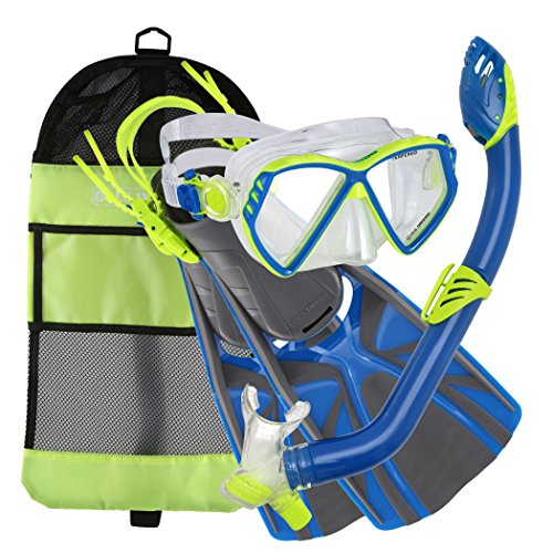 U S  Divers Regal Jr Pro Mask  Laguna Snorkel  Lava Fins Set  Yellow Blue  Large