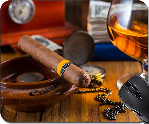 MSD Natural Rubber Mousepad Mouse Pads/Mat design: 35318522 Wealthy man desk cuban dollar notes vintage watch and - Humidor Habana