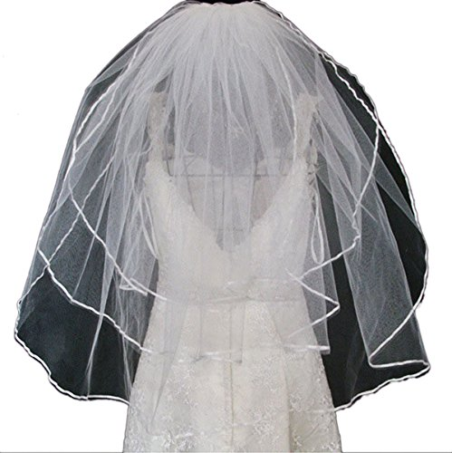 Vimans 2015 Women's Fashion Short Bridal Wedding Veils with Comb Off-White