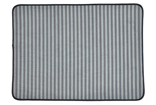 Bone Dry DII Non Slip X-Large Stripe Pet Cage Mat, 25X39, Absorbent Non Scratch Under Cage Mat for Dogs and Cat, Perfect for Kennels or Crates-Gray ()