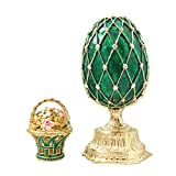 Emerald Green Faberge Style Russian Enameled Egg And Mini Floral Basket With Swarovski Elements Crystal Trinket Jewelry Box