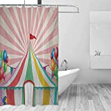 Xlcsomf Hotel Shower Curtain Circus Old Style Vintage Circus Tent with Balloons Carnival Celebration Performance Animals Decorated Bathroom Multicolor,W60 xL72