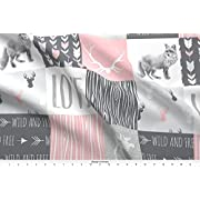 Spoonflower Love Fabric Love Woodland Animal Patchwork - Pink And Grey - Girl Nursery - Moose Fox Deer by Sugarpinedesign Printed on Fleece Fabric by the Yard