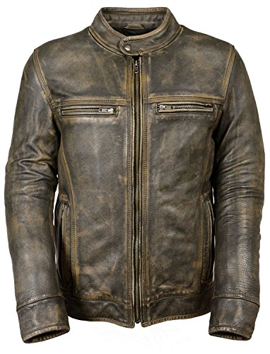 Mens Vintage Biker Motorcycle Distressed Black Cafe Racer Genuine Leather Jacket (Leather Brown Cafe)