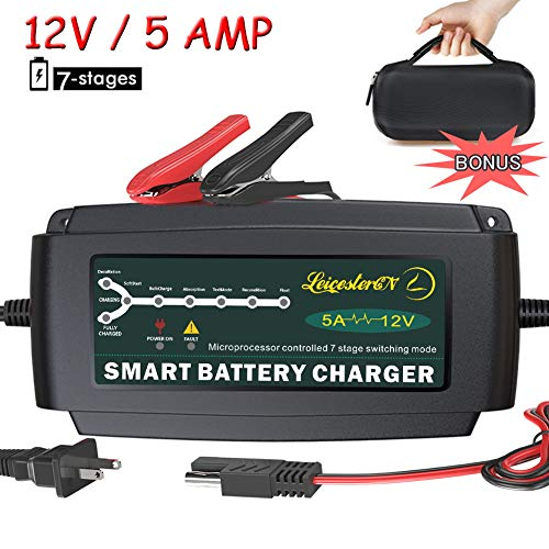 LST 12V 5A Automatic Battery Charger Maintainer Smart Deep Cycle Battery Trickle Charger for Automotive Car Boat Motorcycle Lawn Mower Marine RV SLA ATV AGM GEL CELL WET& FLOODED Lead Acid Battery ()