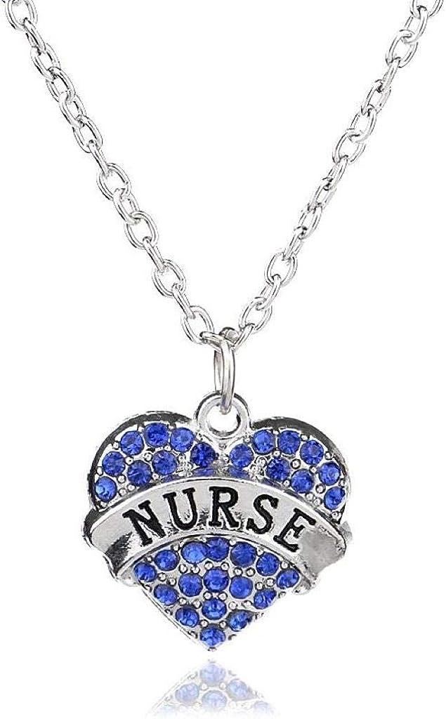 Tono Plateado Enfermera Del Corazón De Color Azul En Inglés Collar Colgante Grabado 2.0 x 2.0 cm Con 45cm Cadena Diamante De Imitación Amor Corazón Mamá Familia