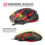 Wired Gaming Mouse, 4000 DPI 9 Buttons Programmable, EasySMX V18 Optical Mouse Weight Tuning Set Non-slip Design with LED Light Fire/Sniper Button for Laptop PC Computer Gamer (Black and Red)