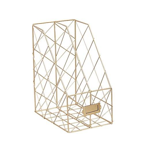 big-time Desktop Magazine File Holder with Labels,Double Grids Metal Mesh Wire Shelf Office Storage Bookshelf Storage Organizer Rustic Industrial Design Black by big-time