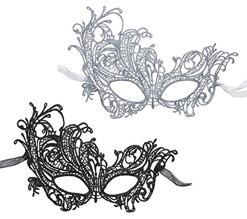2Pcs Lace Masquerade Masks Women Double Ribbon Venetian Eyemask for Halloween Carnival Party Costume Ball Black and Silver]()