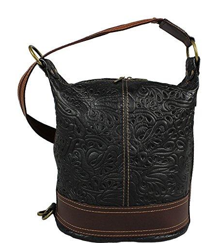 47d1c85302dec Schöne praktische Leder Schwarze Handtasche aus Leder Adele Stampa Nera  Marrone über die Schulter ...