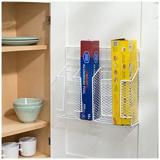 Cabinet Door Organizers Home Basics Organizer Rust Resistant, Perfect for Food Storage, Silver Foil, Wax Paper, Sandwich Bags, Plastic Wrap… cabinet door organizers