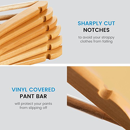 High Grade Lotus Wooden Hangers – 20-pack - Solid Wood Suit Hangers With Extra Smooth Finish, 360 Degree Swivel Hook Non-Slip Bar and Precisely Cut Notches for Coats, Jacket, Pants, and Dress Clothes by ZOBER (Image #1)